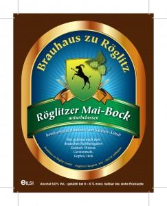 Bieretikett Ro¨glitzer Mai-Bock blau